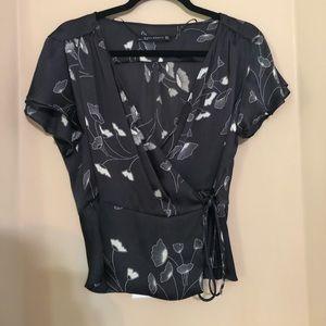 Black floral wrap tie blouse